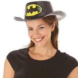 Batgirl Costume Hat Cowboy Stetson Official Fancy Dress Glitter with Batman Logo Preview