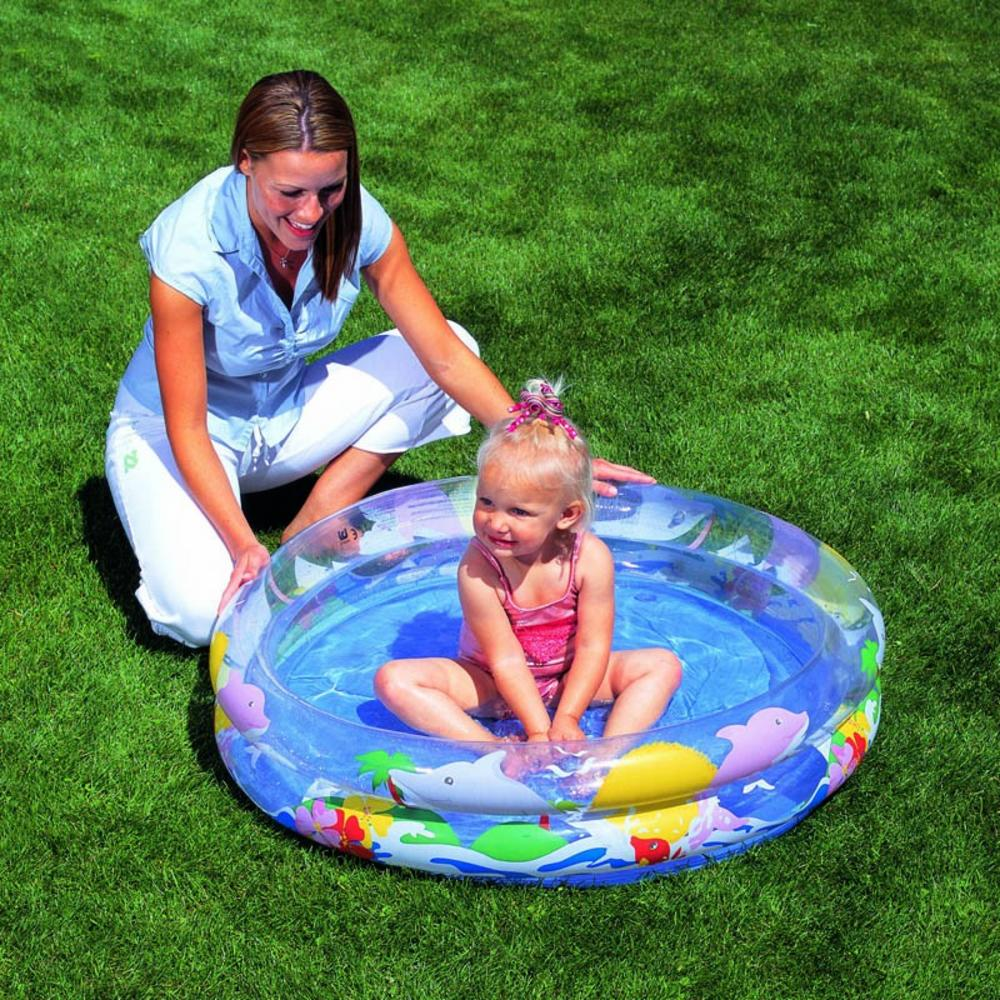 Kids paddling pool bestway sea life two ring garden for Garden paddling pools