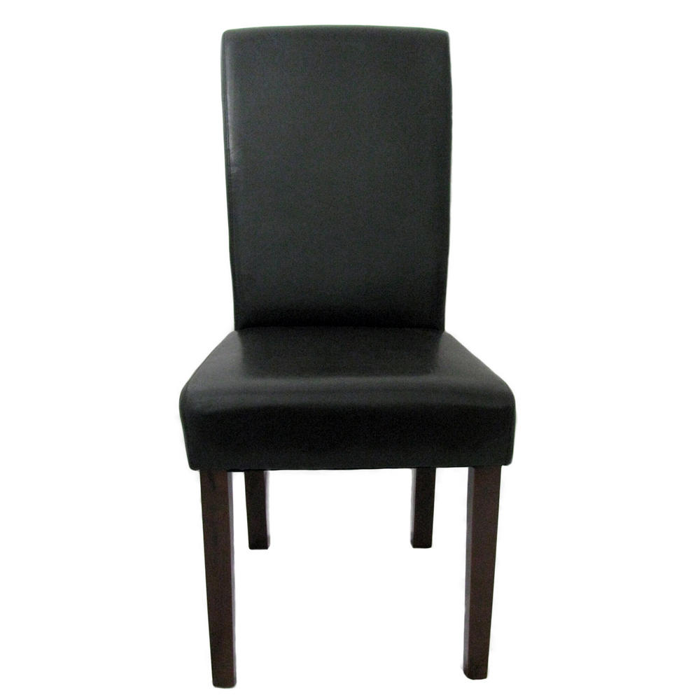 Pair of modern greenwich brown leather effect high back for Modern high back dining chairs