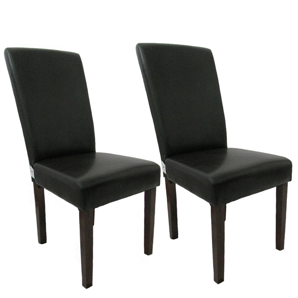 Pair of modern greenwich brown leather effect high back for Leather back dining chairs