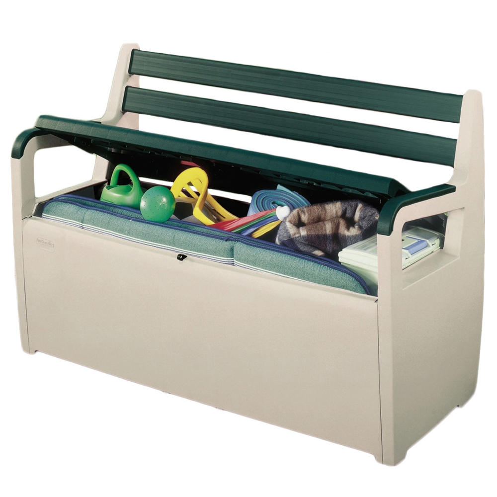 Keter plastic deck patio bench large garden storage seat for Outdoor plastic bench seats