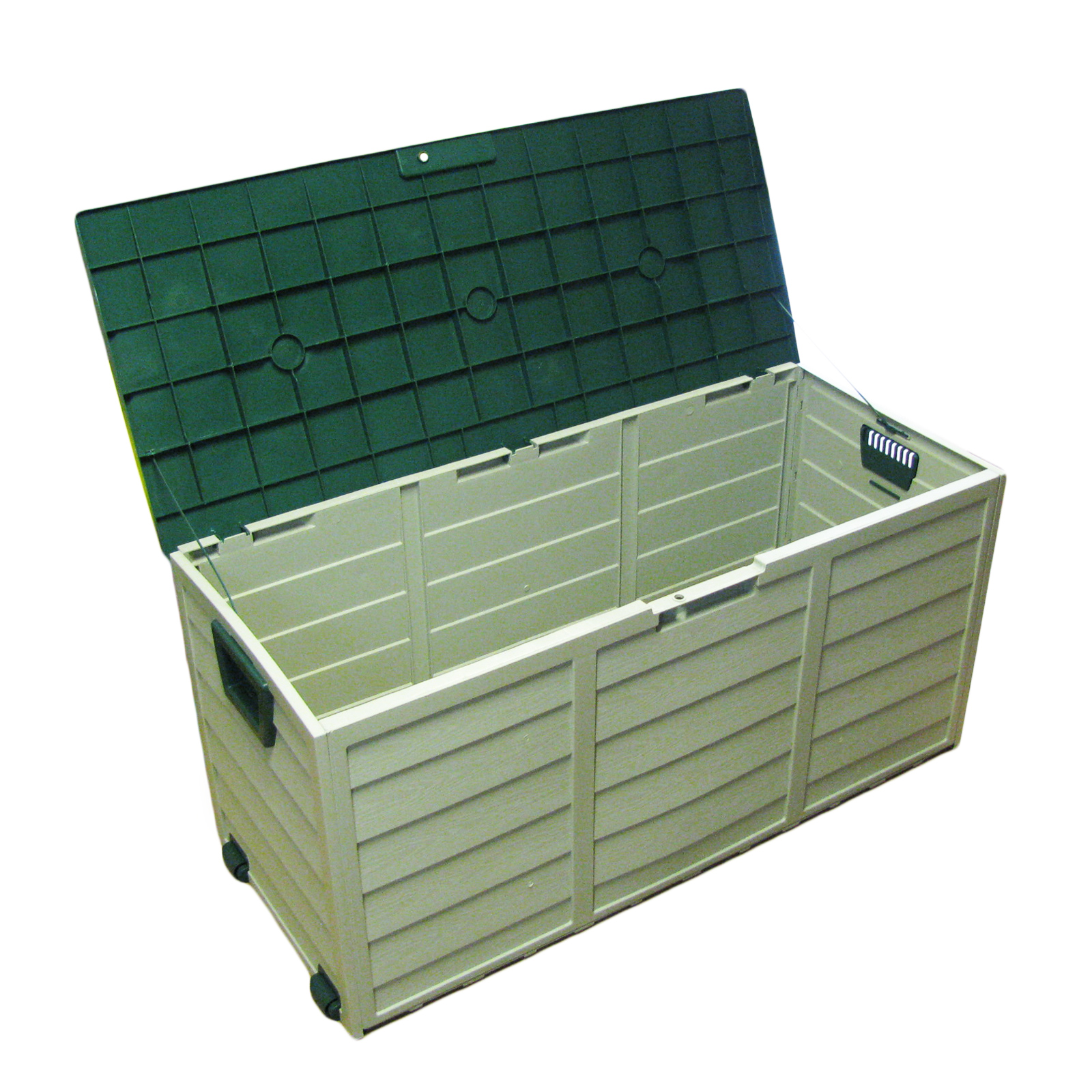 plastic garden portable outdoor shed storage box chest on wheels