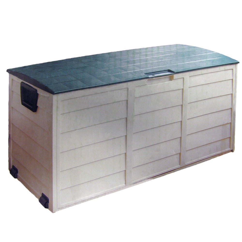 Plastic garden portable outdoor shed storage box chest on - Outdoor plastic shed storage ...