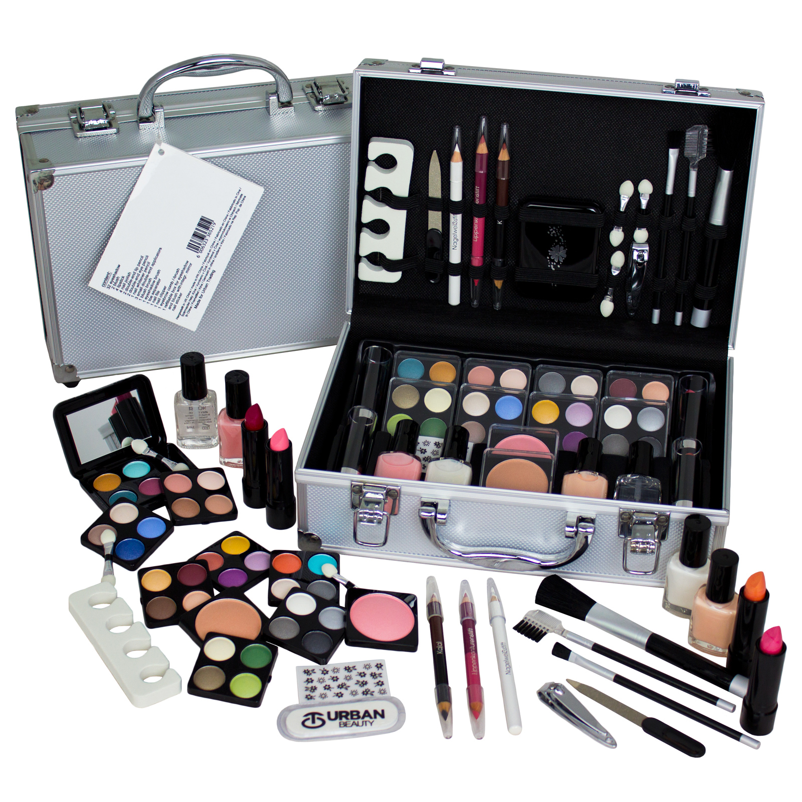 Travel Cosmetic Vanity Case 59 Piece Beauty Train Box Make Up Gift Set Enlarged Preview