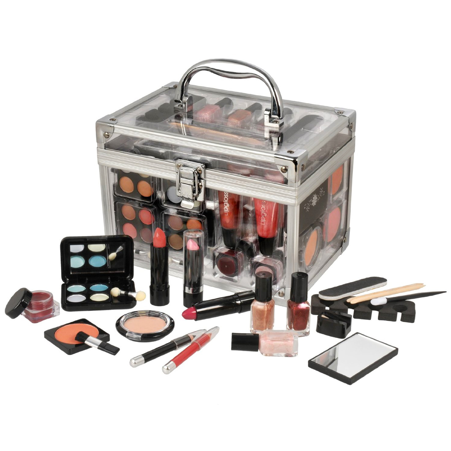 43 Piece Clear Vanity Case Makeup Cosmetic Travel Beauty Gift Set Box Enlarged Preview