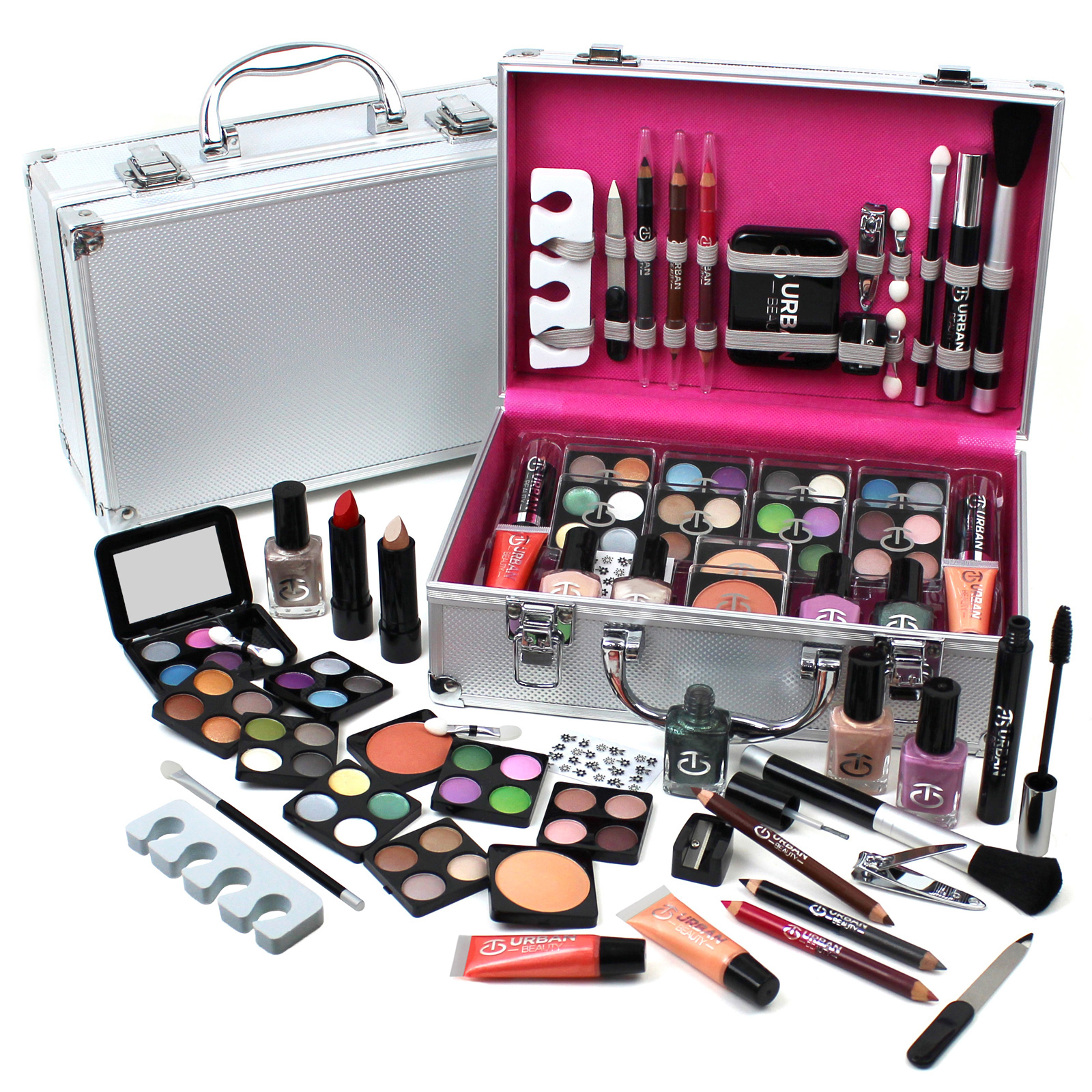 Vanity Case Cosmetic Make Up Urban Beauty Box Travel Carry Gift Storage 60 Piece Enlarged Preview