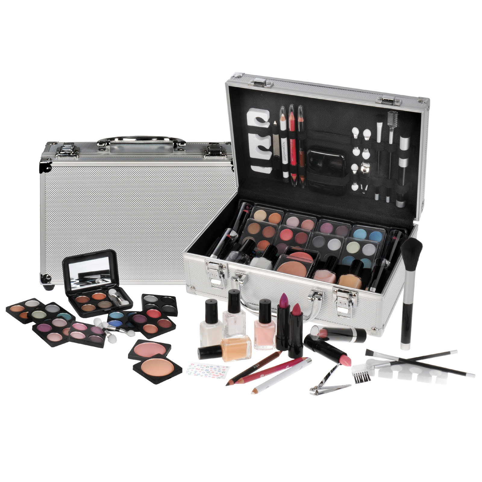 59 Piece Beauty Travel Cosmetic Vanity Case Make Up Gift Set Train Box Enlarged Preview
