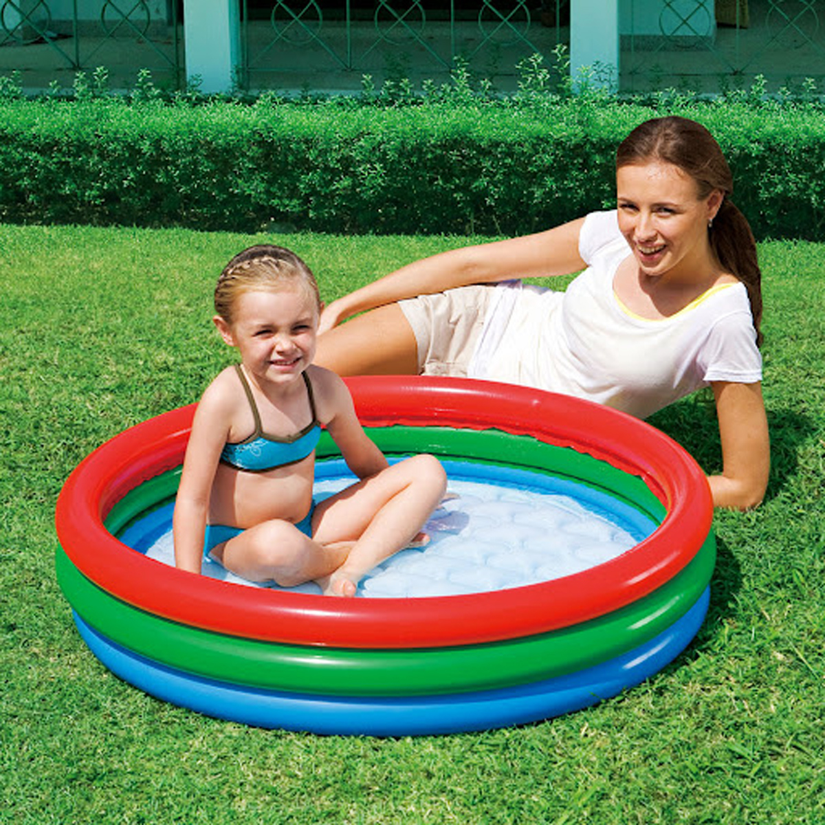 Paddling pool bestway splash play inflatable swimming for Garden paddling pool