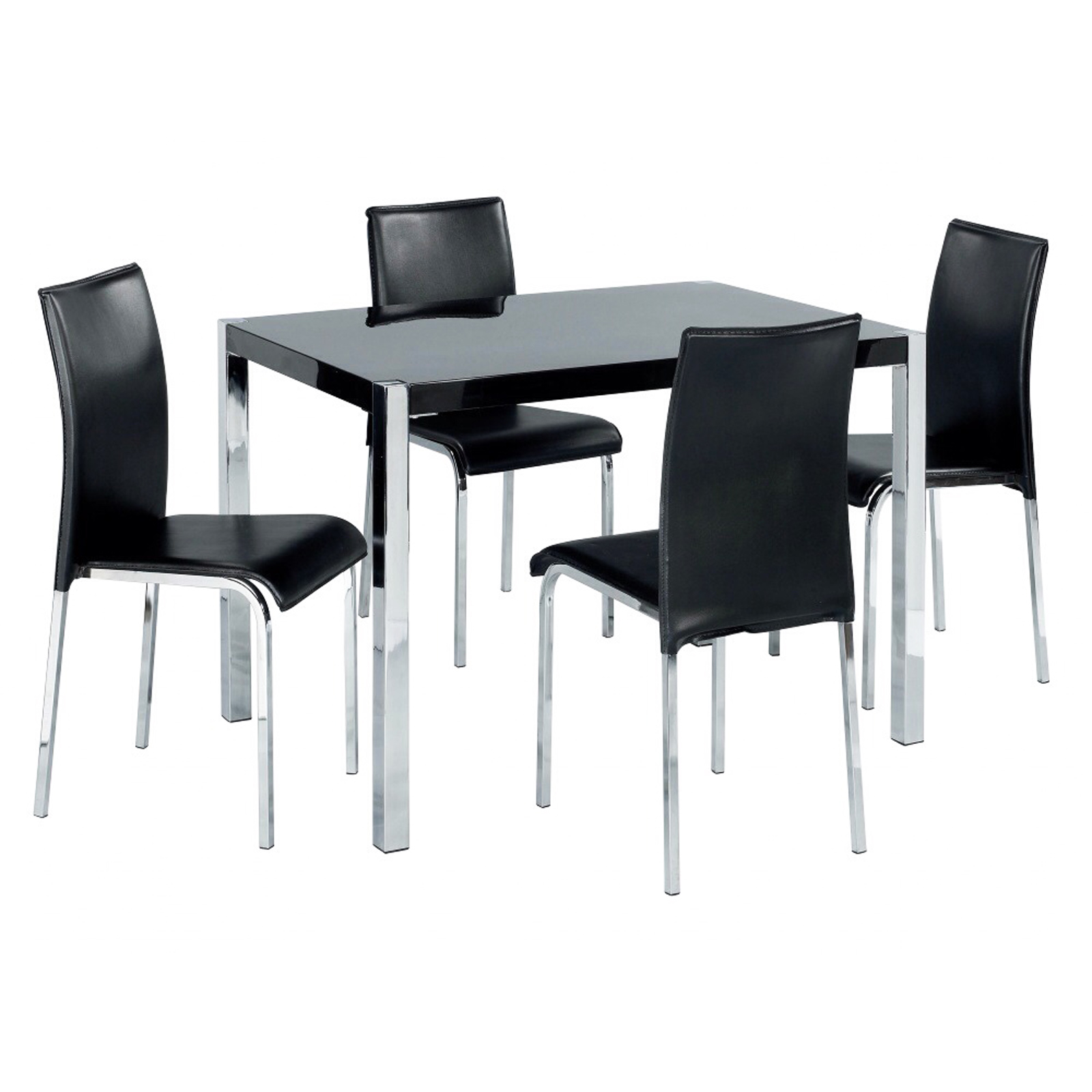 Hygena Black Gloss Stylish Modern Wooden Kitchen Dining Table 120cm EBay