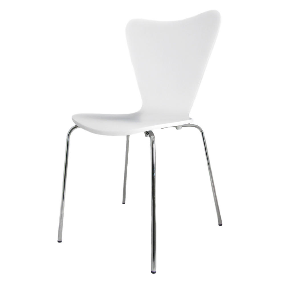 Milo Set Of Four White Retro Modern Contemporary Kitchen Dining Chairs Chairs