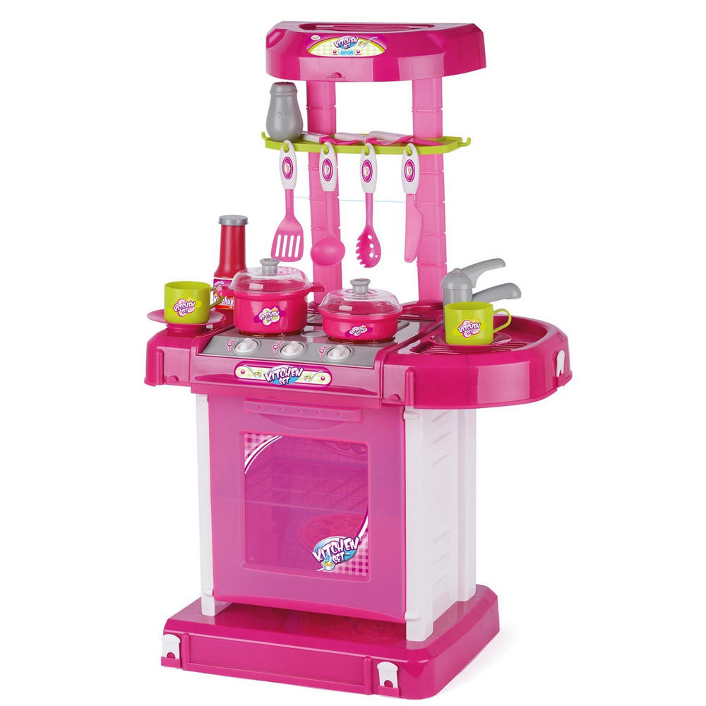 Toyrific kids girls pink play lights and sound kitchen for Toy kitchen set