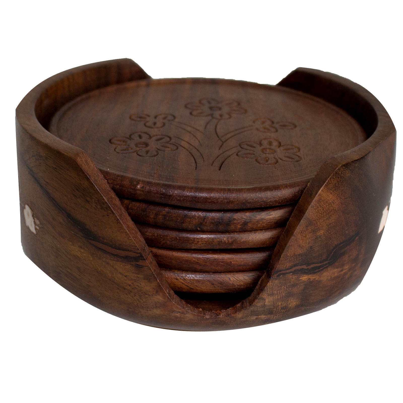 wooden coasters vintage tea mug coffee hand carved floral