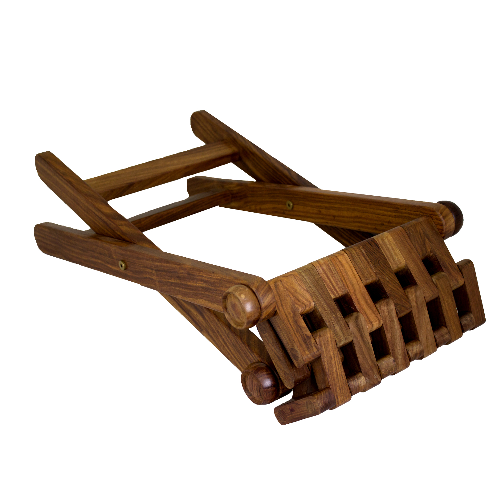 Superb img of Folding Foot Stool Rest Urban Home Hand Carved Wooden Vintage Indian  with #3B1D08 color and 1600x1600 pixels