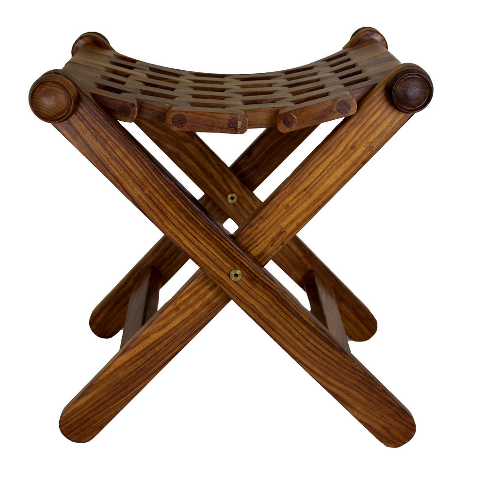 Folding Foot Stool Rest Urban Home Hand Carved Wooden