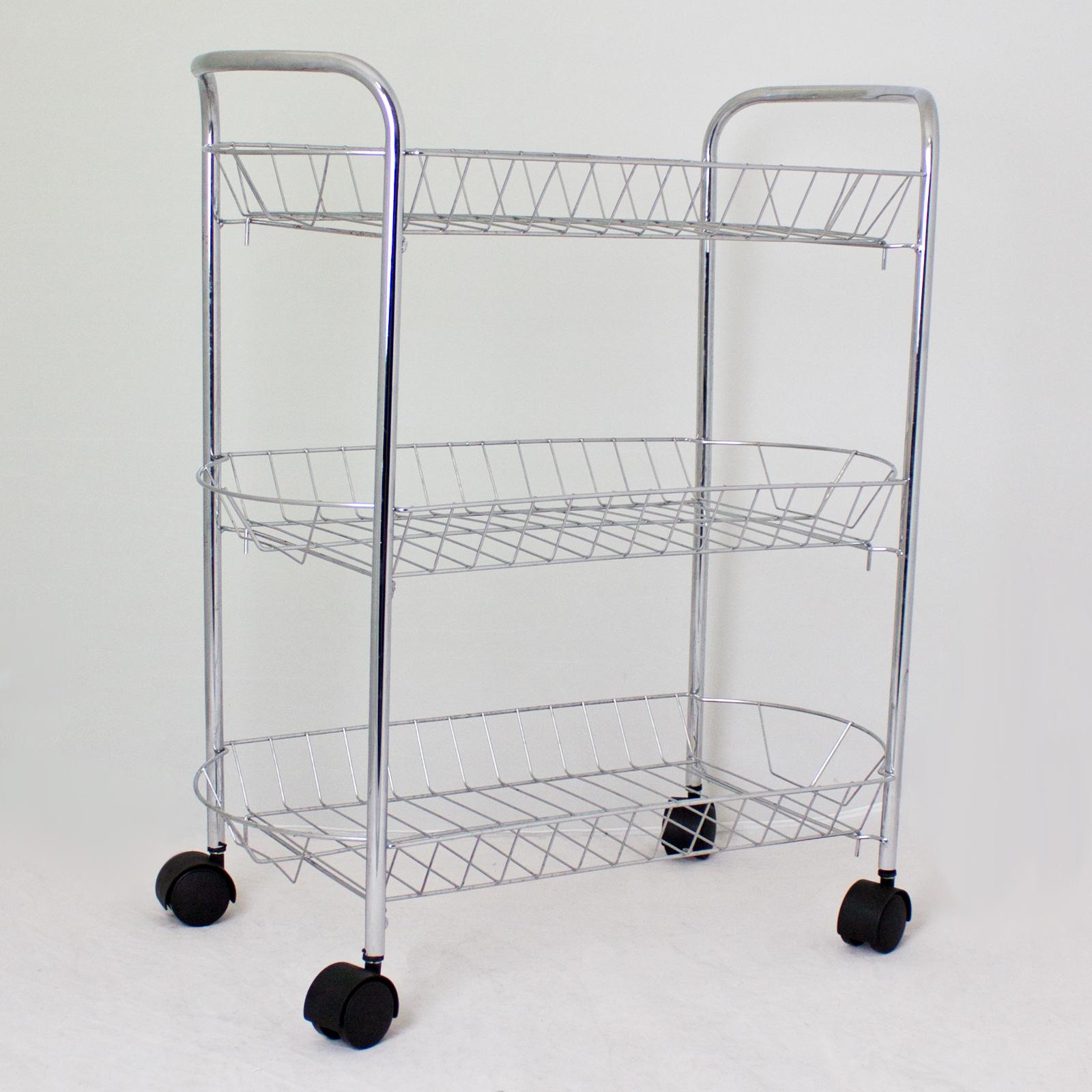 Kitchen Storage Trolleys: Storage Trolley Metal Multi Storage Kitchen Chrome 3 Tier