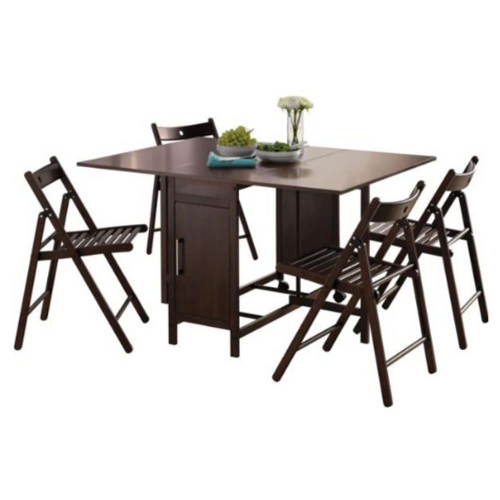 Dining table four chairs rich chocolate space saving for Four chair dining table set