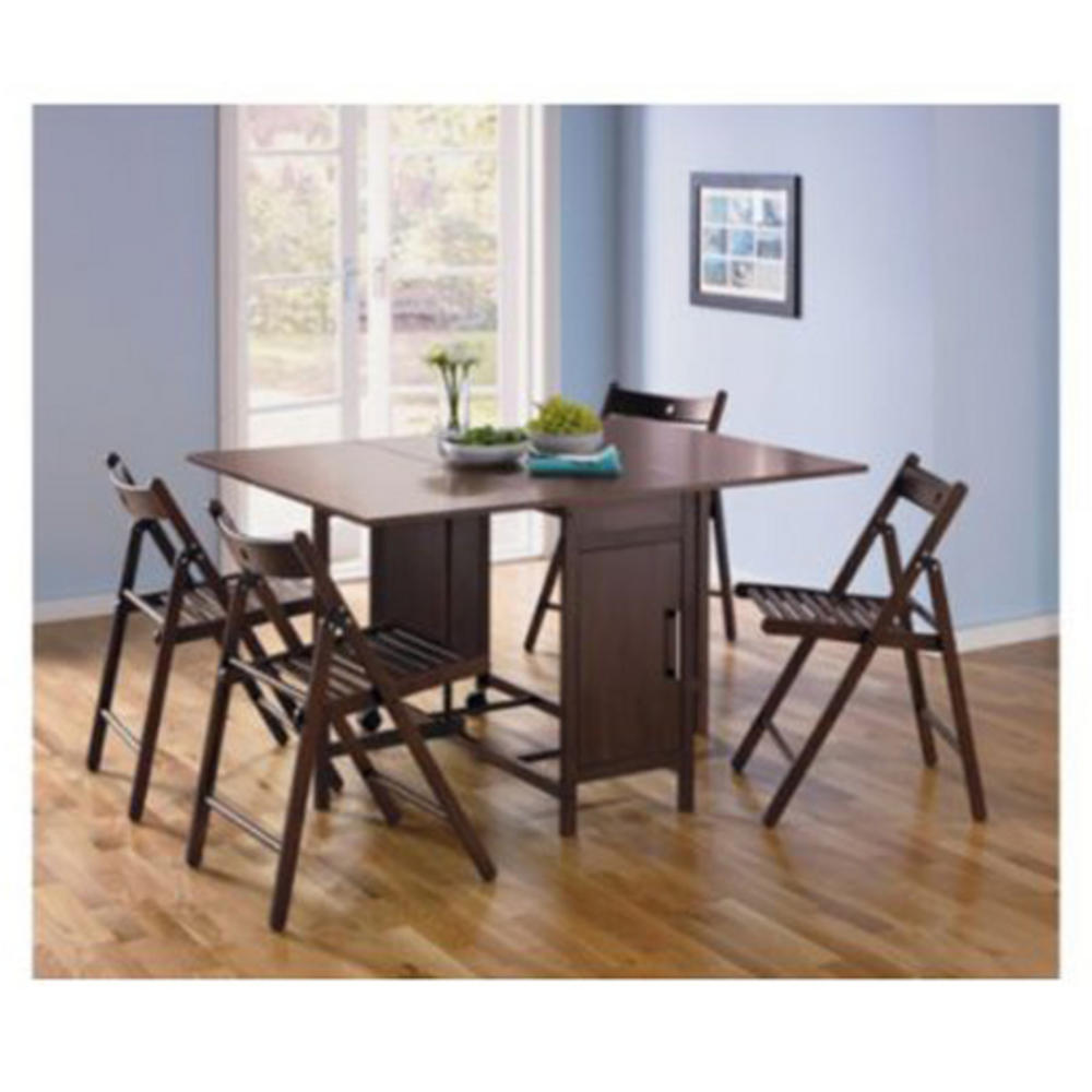 dining table four chairs rich chocolate space saving fold away set
