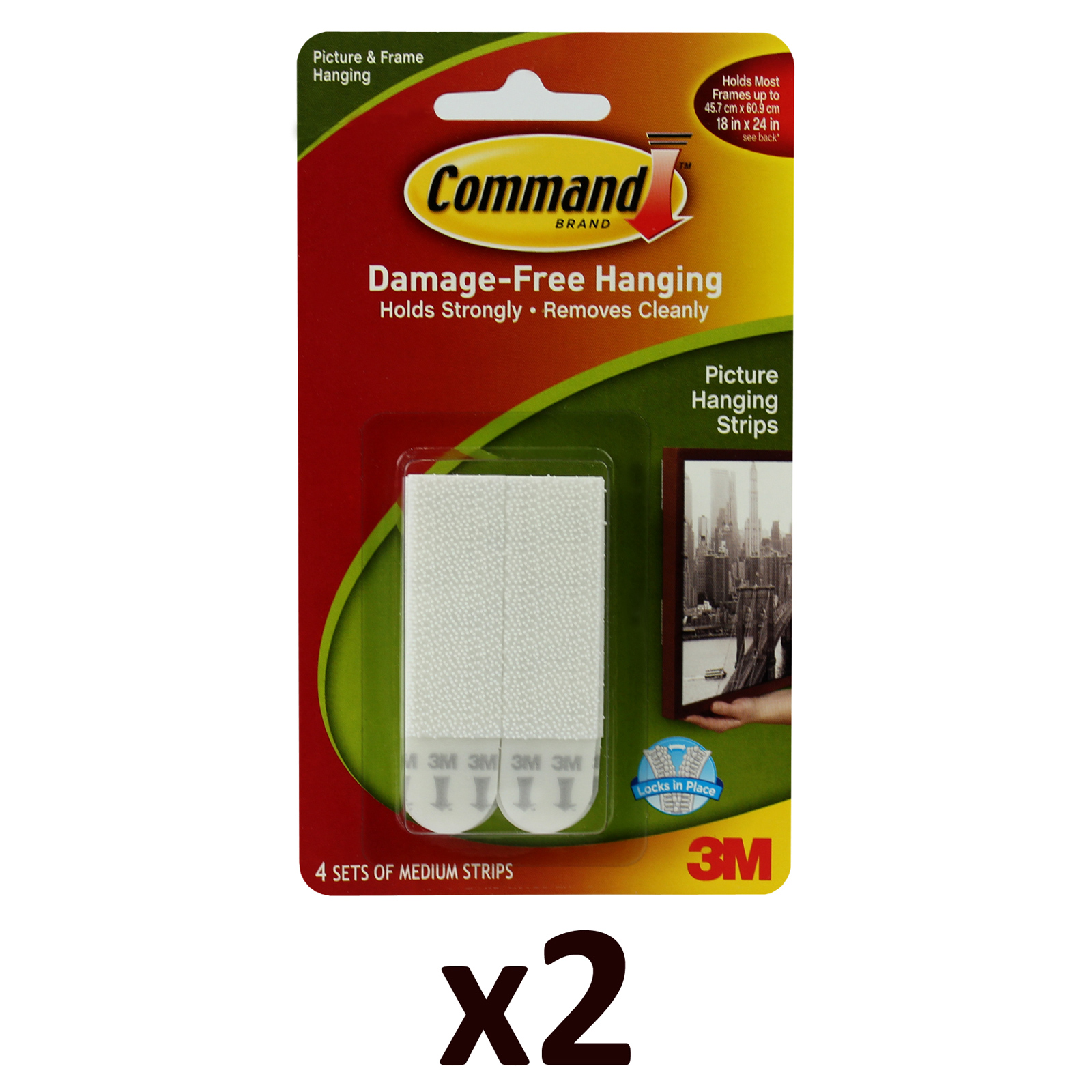 2x 3M Command Medium Pack of 4 Damage Free Wall Hanging Adhesive Strips Enlarged Preview