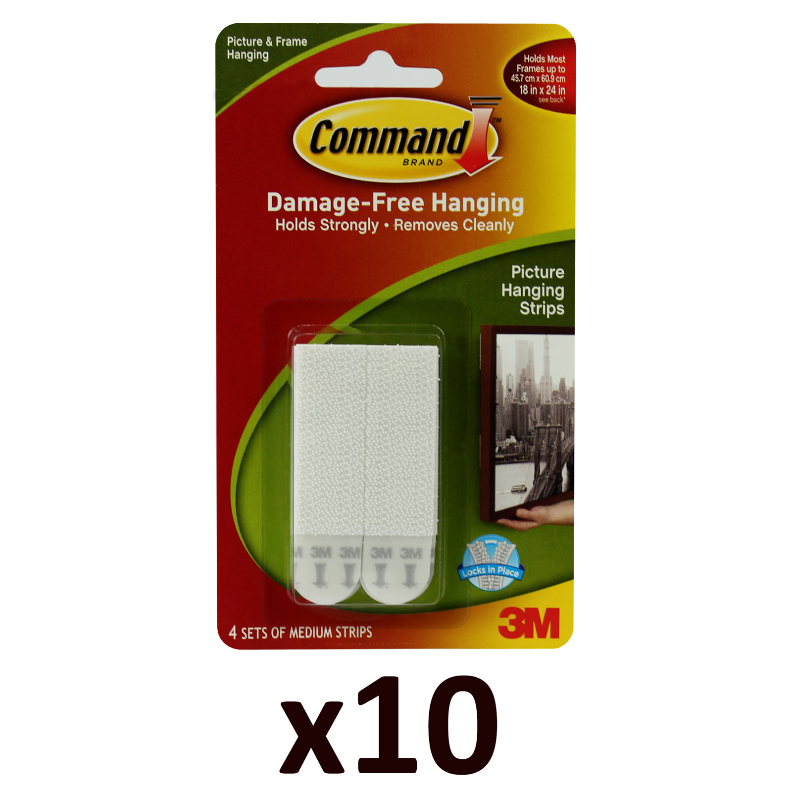 10x 3M Command Medium Pack of 4 Damage Free Wall Hanging Adhesive Strips Enlarged Preview