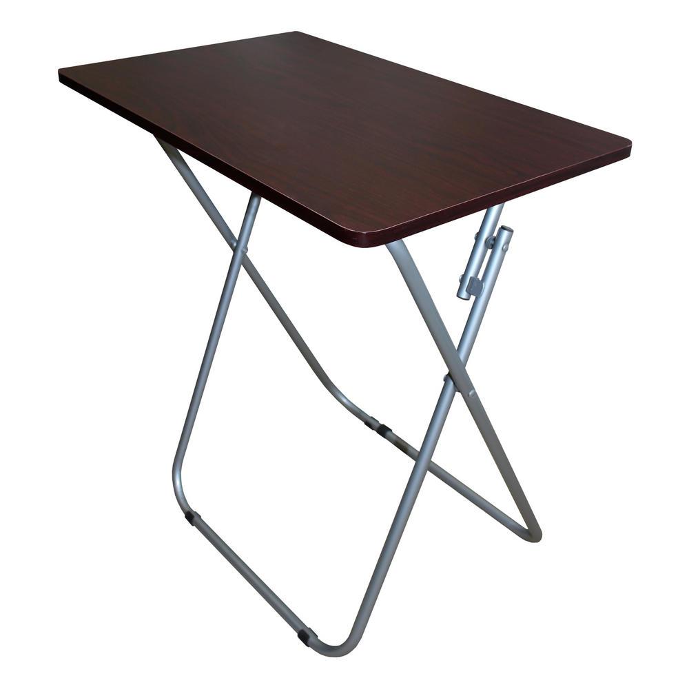small dark wood wooden veneer dinner laptop tray folding desk table other tables mahoganny. Black Bedroom Furniture Sets. Home Design Ideas