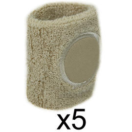 Sweat Band Wrist Gym Sports Wristband Tennis Badminton Squash Cream 5 Pack Preview