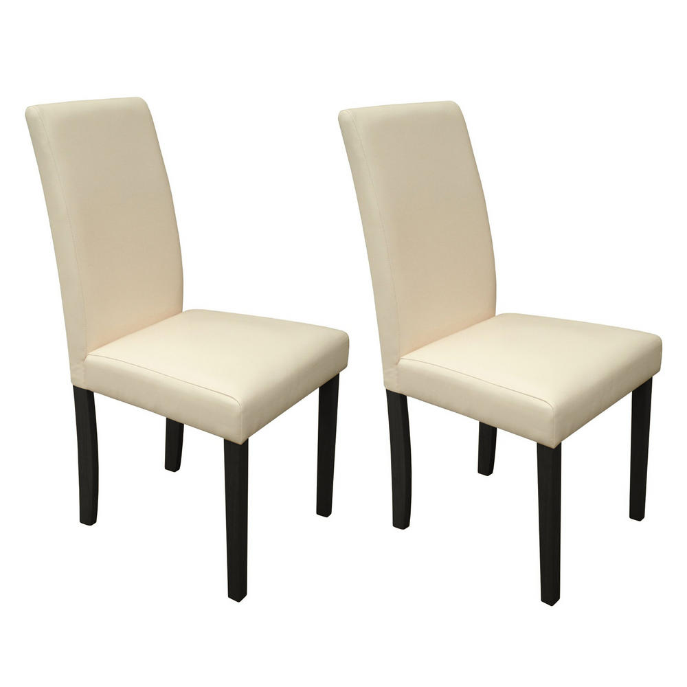 Dining Chairs Winslow Cream Faux Leather Set Of Two With