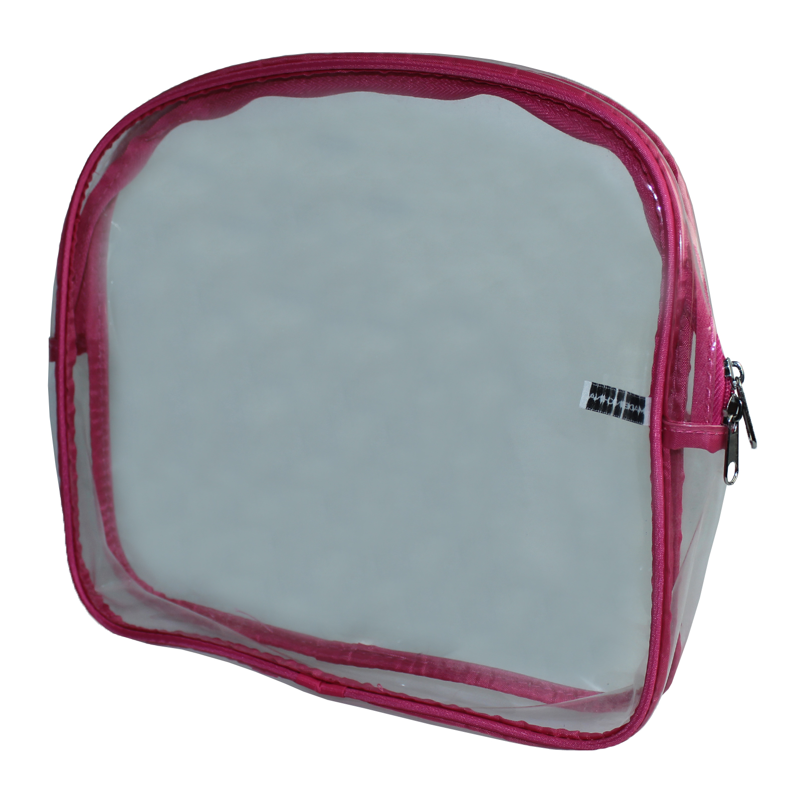 Clear Plastic Zip-Sealed Toiletry Cosmetics Make Up Travel Bag - Pink Enlarged Preview