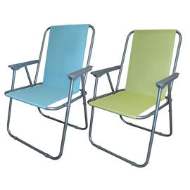 Sun Lounger Folding Patio Outdoor Garden Beach Spring Chair Green And Blue