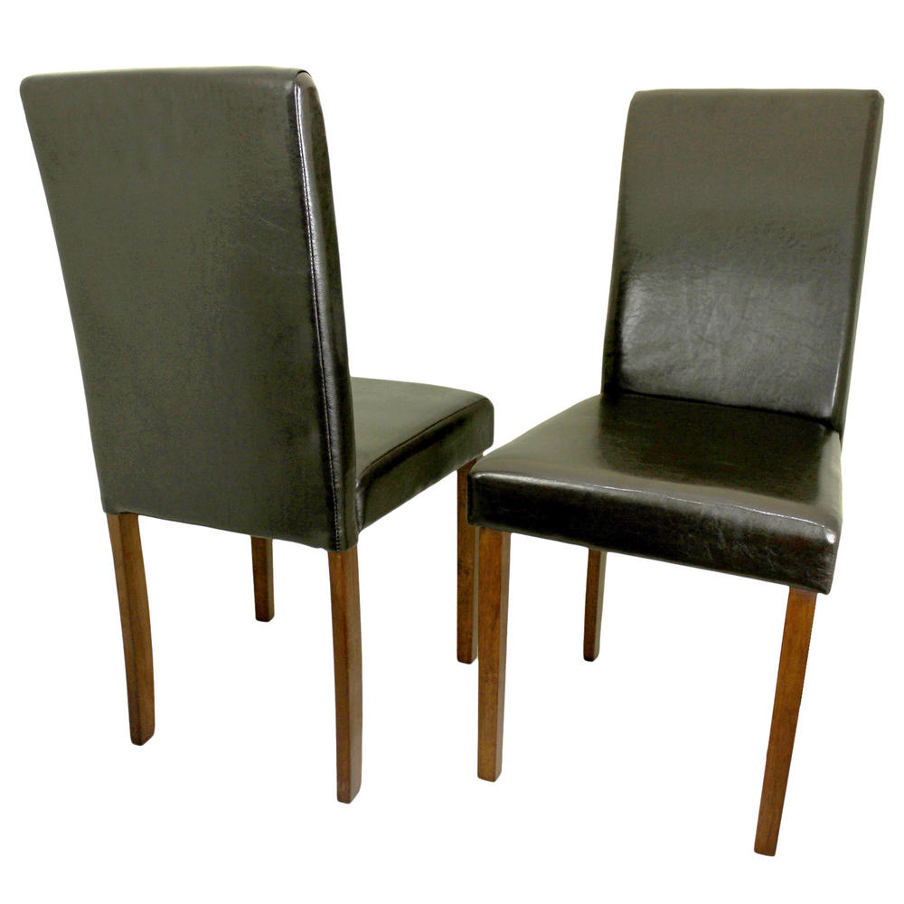 Dining Chairs Set Brown Faux Leather Modern Style Walnut