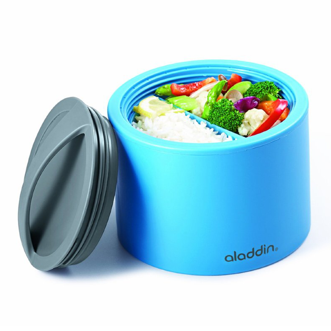 lunch box food work insulated bento aladdin lid design safe blue 0 6l ebay. Black Bedroom Furniture Sets. Home Design Ideas