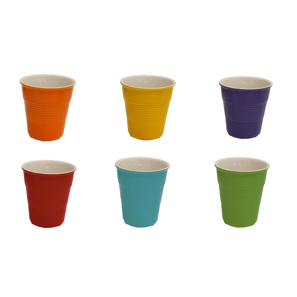 Cup set of 6 porcelain party kitchen family bright colour for Perfect drink pro scale