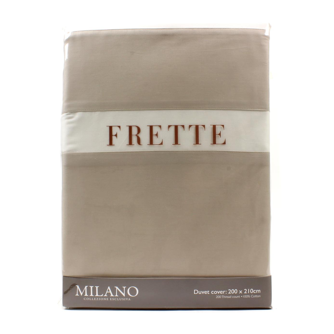 Duvet cover set milano frette cream tan cotton double bed for Frette milano