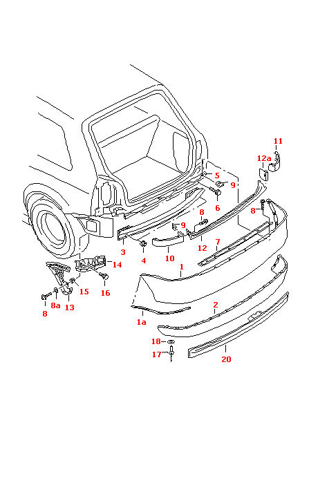 Audi A3 1997 2000 Models Right Rear Bumper Guide Profile