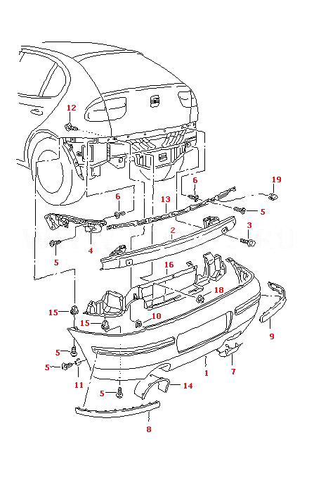 seat leon rear bumper inner trim in black for auq ary
