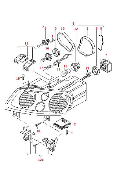 vw touran 2004  06 repair kit headlamp housing 1t0998225