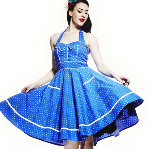 HELL BUNNY Swing 50s DRESS VANDA Summer Blue Dot All Sizes