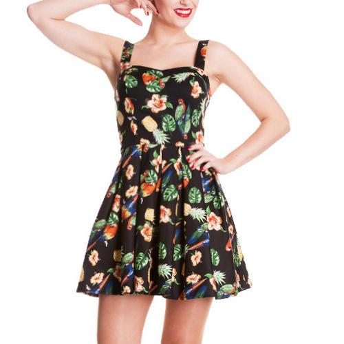 HELL-BUNNY-Tropical-MINI-DRESS-Vintage-BECKY-Black-Summer-Rockabilly-All-Sizes