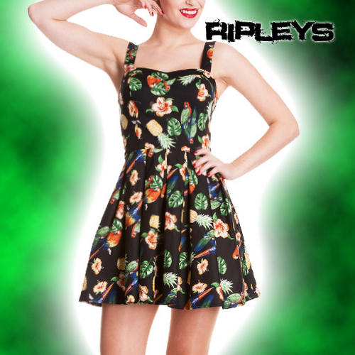 HELL-BUNNY-Tropical-MINI-DRESS-Vintage-BECKY-Black-Summer-Rockabilly-All-Sizes