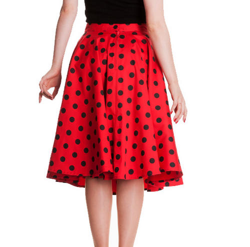 HELL BUNNY 50s Rockabilly ADELAIDE SKIRT Pin Up Polka Dot RED ...