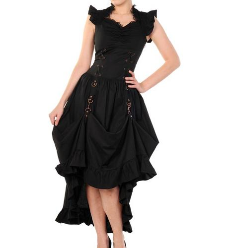 BANNED-Victorian-Black-Copper-STEAMPUNK-DRESS-Ruffle-Adjustable-All-Sizes