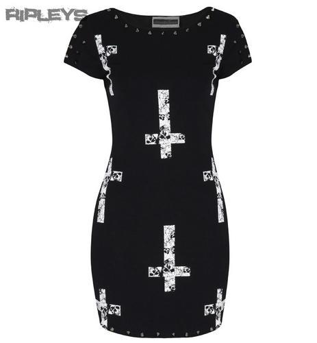 JAWBREAKER-Black-Mini-Dress-CROSS-Spike-Studs-Goth-Punk-All-Sizes