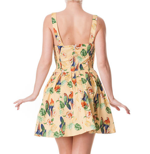 HELL-BUNNY-Tropical-Mini-Dress-Vintage-BECKY-Sand-Yellow-Summer-All-Sizes