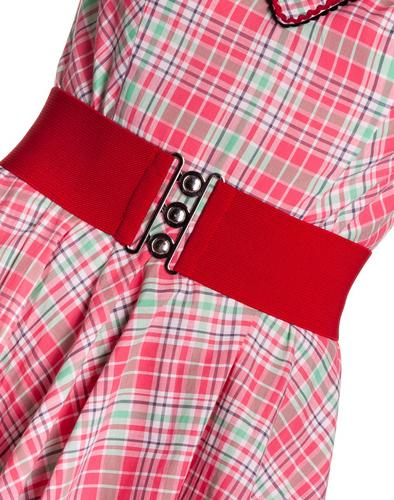 HELL-BUNNY-Retro-50s-Waist-BELT-Rockabilly-Elasticated-RED-All-Sizes