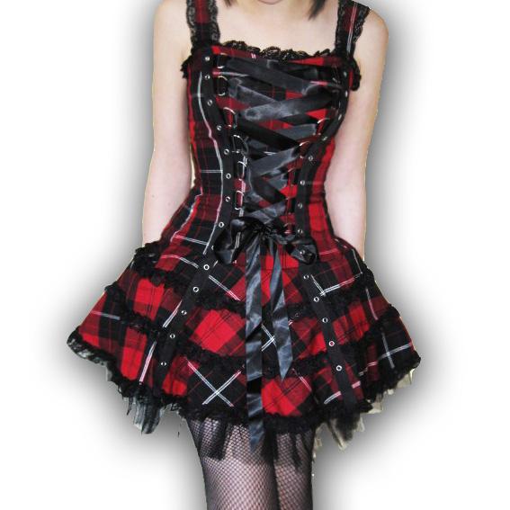 HELL BUNNY Club MINI DRESS HARLEY Tartan RED Gothic  PUNK All sizes