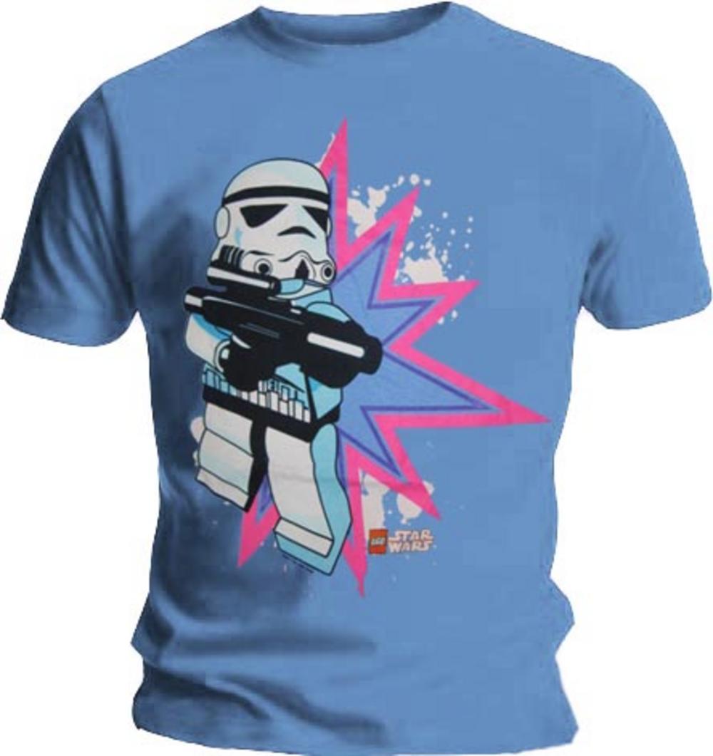 Official T Shirt Lego Star Wars Stormtrooper Pow Blue L