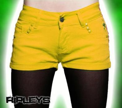 CRIMINAL DAMAGE Shorts YELLOW Hot Pants SUMMER 34W 14