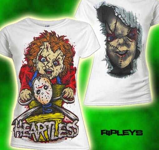 EVIL SKINNY T Shirt HEARTLESS Chucky PLAYTIME Whte M 10