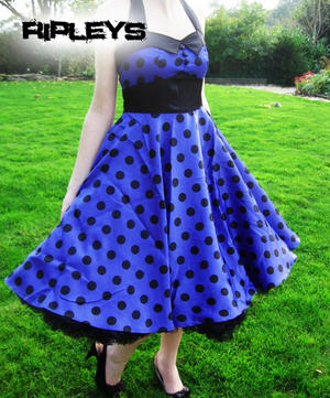 HELL BUNNY 50s VERA Purple DRESS Polka Dot Emo  Preview