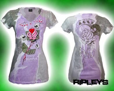 ALCHEMY ENGLAND Skinny T Shirt LOVE & LUCK Vintage V Neck M 12