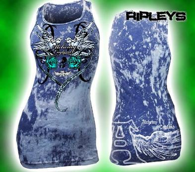 ALCHEMY ENGLAND Skinny Vest LOVE ROSES Blue Swallows M 10